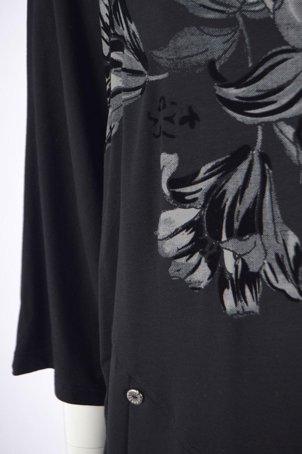 ed235b3a77bd AKH Damen Tunika Longshirt mit Blumen-Muster aus Viskose Schwarz 44 4,  79,90 €