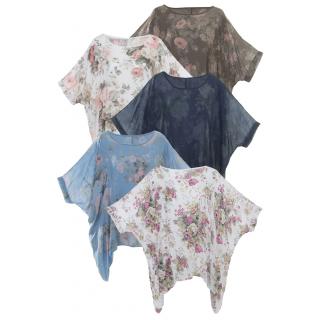 Baumwolltunika Damen Groß mit Blumendesign und Flügelärmeln 38 40 42 44 c7b3db32f1
